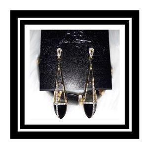 NWT ABS By Allen Schwartz Drop Earrings Gold&Black